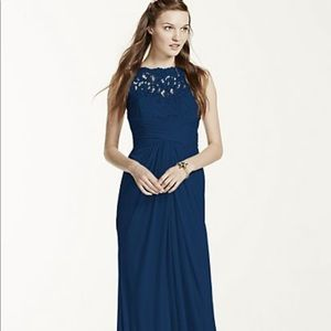 Sleeveless Long mesh dress lace navy blue 6